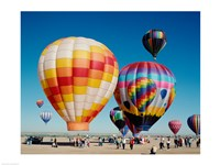 Hot air balloons taking off, Balloon Fiesta, Albuquerque, New Mexico Fine Art Print