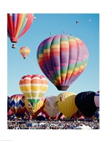 Low angle view of hot air balloons in the sky, Albuquerque International Balloon Fiesta, Albuquerque, New Mexico, USA Framed Print