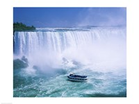 High angle view of a tourboat in front of a waterfall, Niagara Falls, Ontario, Canada Fine Art Print