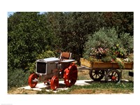 Tractor with a wagon filled with flowers, Provence, Provence-Alpes-Cote d'Azur, France Fine Art Print