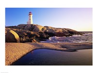 Lighthouse on the coast, Peggy's Cove Lighthouse, Peggy's Cove, Nova Scotia, Canada Fine Art Print