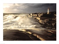 Waves crashing against rocks, Peggy's Cove Lighthouse, Peggy's Cove, Nova Scotia, Canada - various sizes, FulcrumGallery.com brand