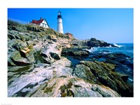 Lighthouse at the coast, Portland Head Lighthouse, Cape Elizabeth, Maine, USA Fine Art Print