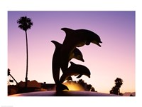 Dolphin Fountain on Stearns Wharf, Santa Barbara Harbor, California, USA Fine Art Print