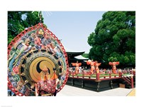 Decorative drum in front of a building, Meiji Jingu Shrine, Tokyo, Japan Fine Art Print