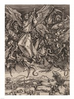 St. Michael Fighting the Dragon by Albrecht Durer, 1498 Framed Print