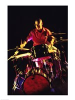 Young man playing the drums Fine Art Print