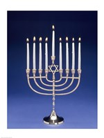 Close-up of a menorah with a Star of David Fine Art Print