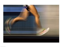 Low section view of a person running on blue - various sizes