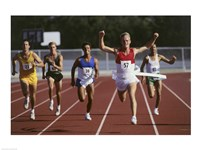 Male athletes running on a running track - various sizes