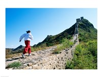 Person running up the Great Wall, Simatai, Beijing, China Fine Art Print