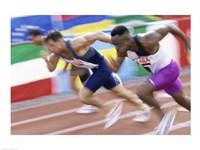 Side profile of three men running low on a running track Fine Art Print