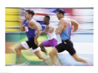 Side profile of three men running on a track Fine Art Print