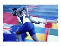 Side profile of runners passing a baton in a relay race Fine Art Print