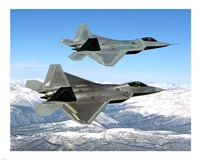 Two F-22 Raptor in Flying Fine Art Print