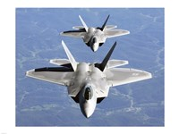 Two F-22A Raptor in Column Flight Framed Print