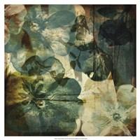 Vintage Teal Blooms II Fine Art Print
