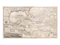 1732 Herman Moll Map of the West Indies, Florida, Mexico, and the Caribbean Framed Print