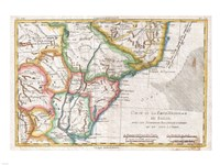 1780 Raynal and Bonne Map of Southern Brazil, Northern Argentina, Uruguay and Paraguay, 1780 - various sizes