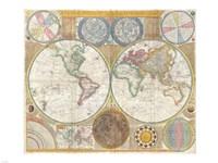 1794 Samuel Dunn Wall Map of the World in Hemispheres Fine Art Print
