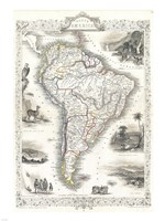 1850 Tallis Map of South America Fine Art Print