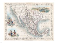 1851 Tallis Map of Mexico, Texas, and California Fine Art Print
