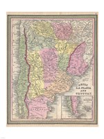 1853 Mitchell Map of Argentina, 1853 - various sizes