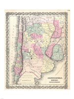 1855 Colton Map of Argentina, Chile, Paraguay and Uruguay, 1855 - various sizes