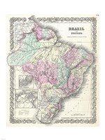 1855 Colton Map of Brazil And Guyana, 1855 - various sizes