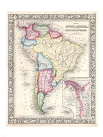 1864 Mitchell Map of Brazil, Bolivia and Chili, 1864 - various sizes