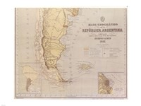 Map of Argentina 1883 - various sizes