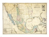 Map of Mexico 1847 Framed Print