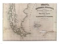 Mapa de la Republica Argentina 1875 Fine Art Print