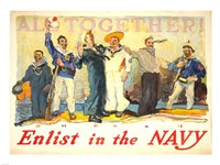 All Together, Enlist in the Navy Fine Art Print