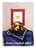 Sad Puppy Propoganda Poster, 1944 Fine Art Print