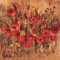 "Red Floral Frenzy I by Alan Hopfensperger - 18"" x 18"""