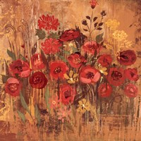 "Red Floral Frenzy II by Alan Hopfensperger - 18"" x 18"""