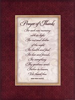 Prayer of Thanks Framed Print