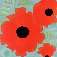 Collection of Poppies on Blue Fine Art Print