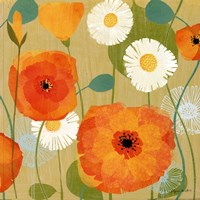 """Daisies and Poppies I by Susy Pilgrim Waters - 18"""" x 18"""""""