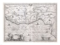 1670 Ogilby Map of West Africa Fine Art Print