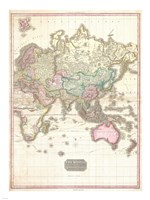 1818 Pinkerton Map of the Eastern Hemisphere Fine Art Print