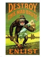 Destroy This Mad Brute' US Enlist Poster Fine Art Print