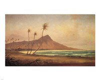 Gideon Jacques Denny - 'Waikiki Beach', oil on canvas, 1868 Framed Print
