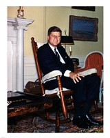 JFK in Yellow Oval Room 1962 Fine Art Print
