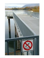 No Swimming Sign on a Railing - various sizes