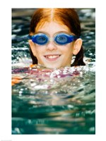 Close-up of a girl in a swimming pool - various sizes