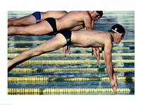 Side profile of three swimmers jumping into a swimming pool - various sizes