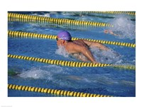 Swimmer racing in a swimming pool - various sizes