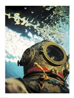 Close-up of a divers helmet under water - various sizes